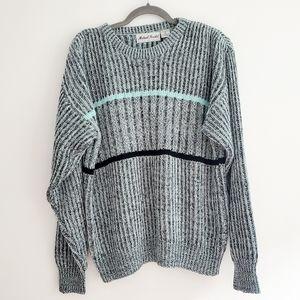 Vintage Michael Gerald Mint Stripe Acrylic Sweater